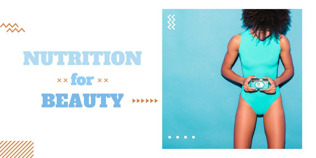 Nutrition for beauty ad with Woman in swimsuit Imageデザインテンプレート