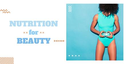 Nutrition for beauty ad with Woman in swimsuit Image Modelo de Design