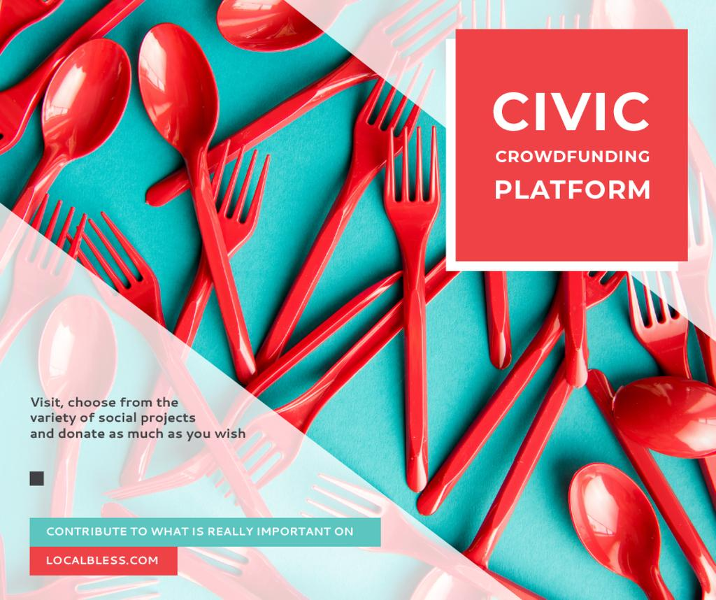 Crowdfunding Platform Red Plastic Tableware — Создать дизайн
