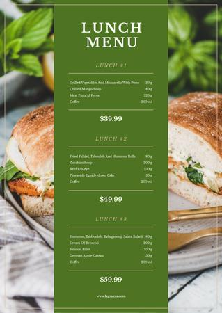 Template di design Lunch with Sandwich dish Menu