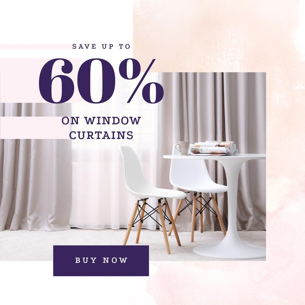 Curtains offer on Cozy interior in light colors — Créer un visuel