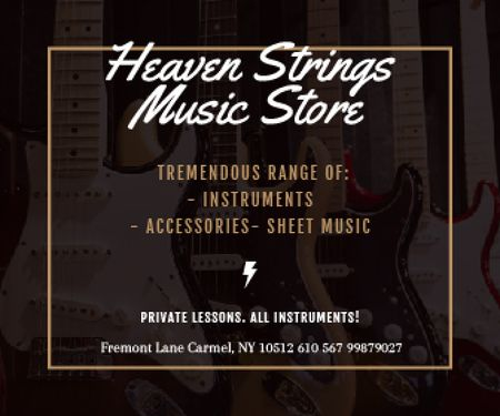 Plantilla de diseño de Heaven Strings Music Store Large Rectangle