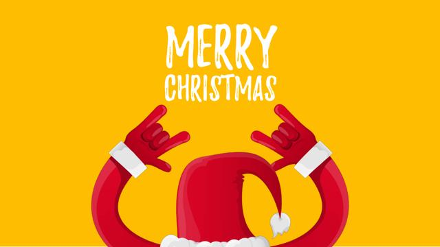 Christmas Greeting Santa Showing Rock Sign Full HD videoデザインテンプレート