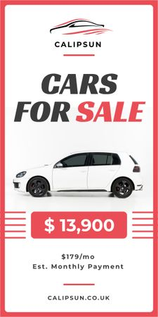 Care Sale Ad White Hatchback in White Graphic – шаблон для дизайну