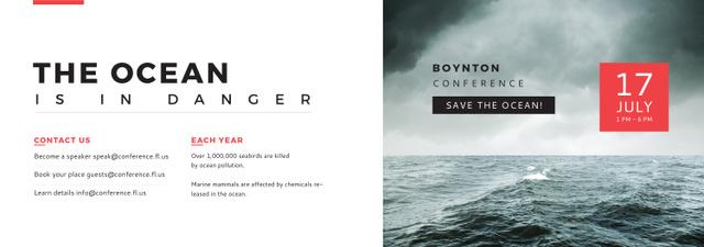 Plantilla de diseño de Ecology Conference Invitation Stormy Sea Waves Tumblr
