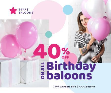 Birthday Balloons Sale Girl with Gifts Facebook Tasarım Şablonu