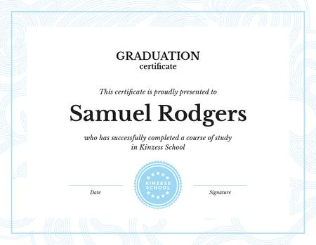 School Graduation confirmation in blue Certificate Design Template