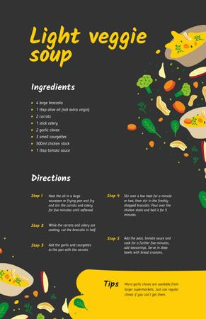 Light Veggie Soup with Ingredients Recipe Card Modelo de Design