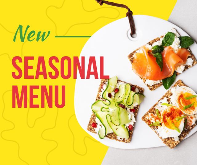 Designvorlage Assorted delicious Toasts menu für Facebook