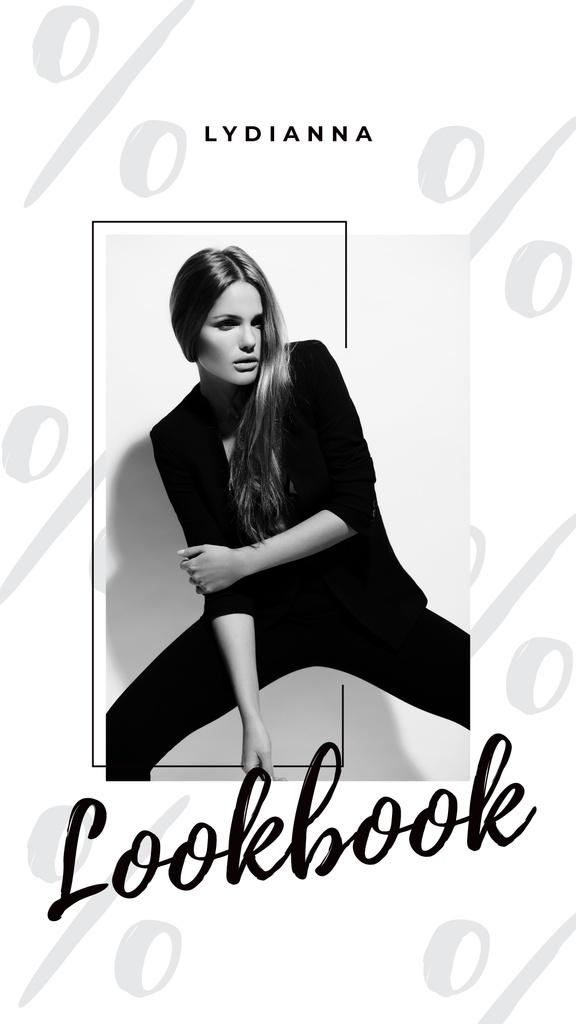 Woman in Black Outfit on White — Crea un design