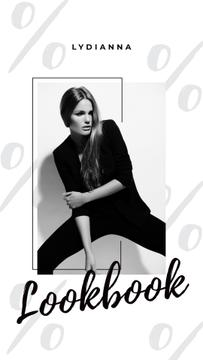 Fashion Ad Young Woman in Black Clothes | Stories Template