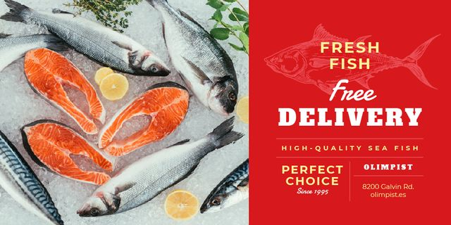 Food Delivery Services with Fresh Raw Fish Twitter Design Template