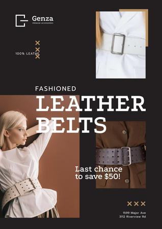 Accessories Store Ad with Women in Leather Belts Poster Modelo de Design