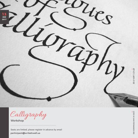 Plantilla de diseño de Calligraphy Workshop Announcement Decorative Letters Instagram AD