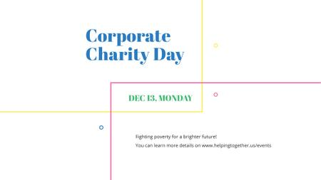 Szablon projektu Corporate Charity Day on simple lines FB event cover