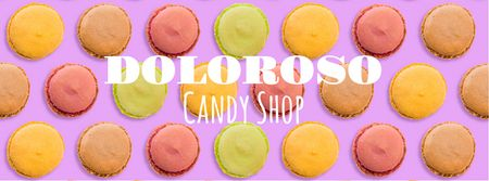 Colorful spinning macarons at candy shop Facebook Video cover Tasarım Şablonu