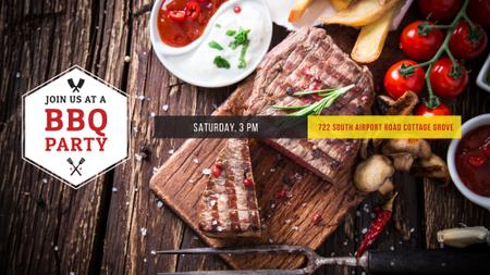 Szablon projektu BBQ Party Invitation with Grilled Steak FB event cover