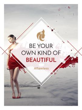 Beauty quote with Young attractive Woman