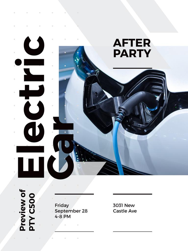 After Party invitation with Charging electric car — Create a Design