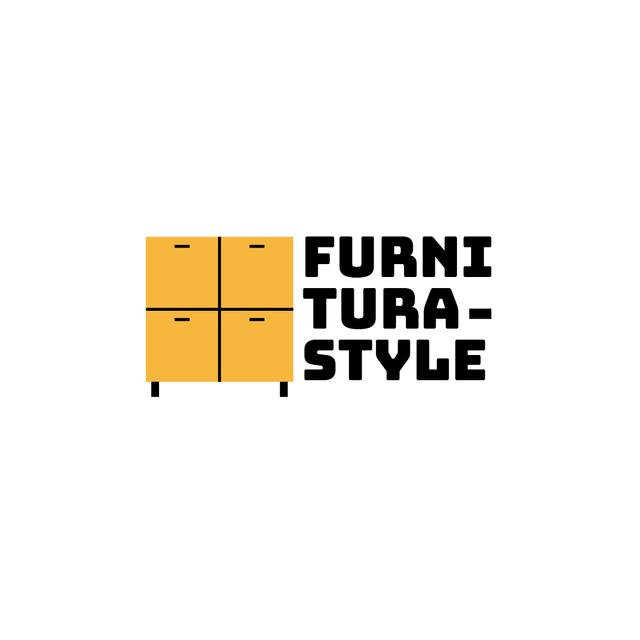 Furniture Ad with Cupboard in Yellow Logo Design Template