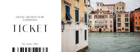 Plantilla de diseño de Old Venice buildings Ticket