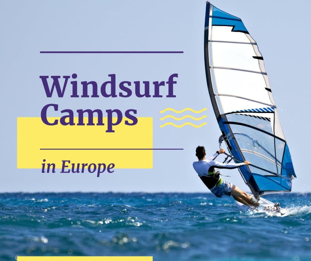 Windsurfing Tour Offer Man Riding Board — Створити дизайн