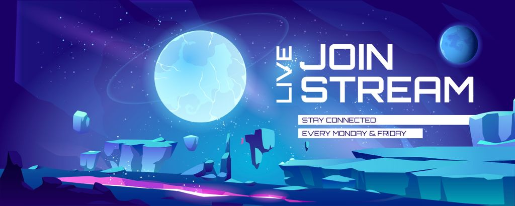 Game Streaming Ad with Magic Planets in Space — Crear un diseño