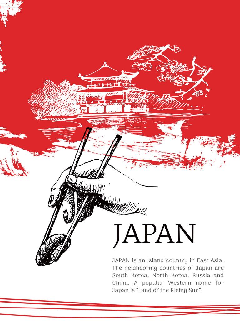 Japanese pagoda and sushi poster — Modelo de projeto