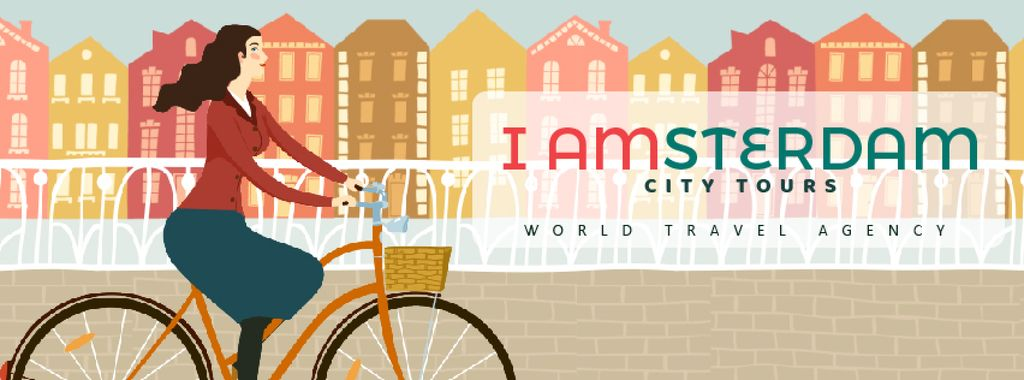 Girl riding bicycle in city — Crear un diseño