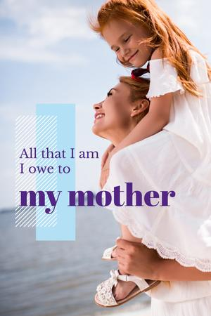 Ontwerpsjabloon van Pinterest van Happy mother with daughter
