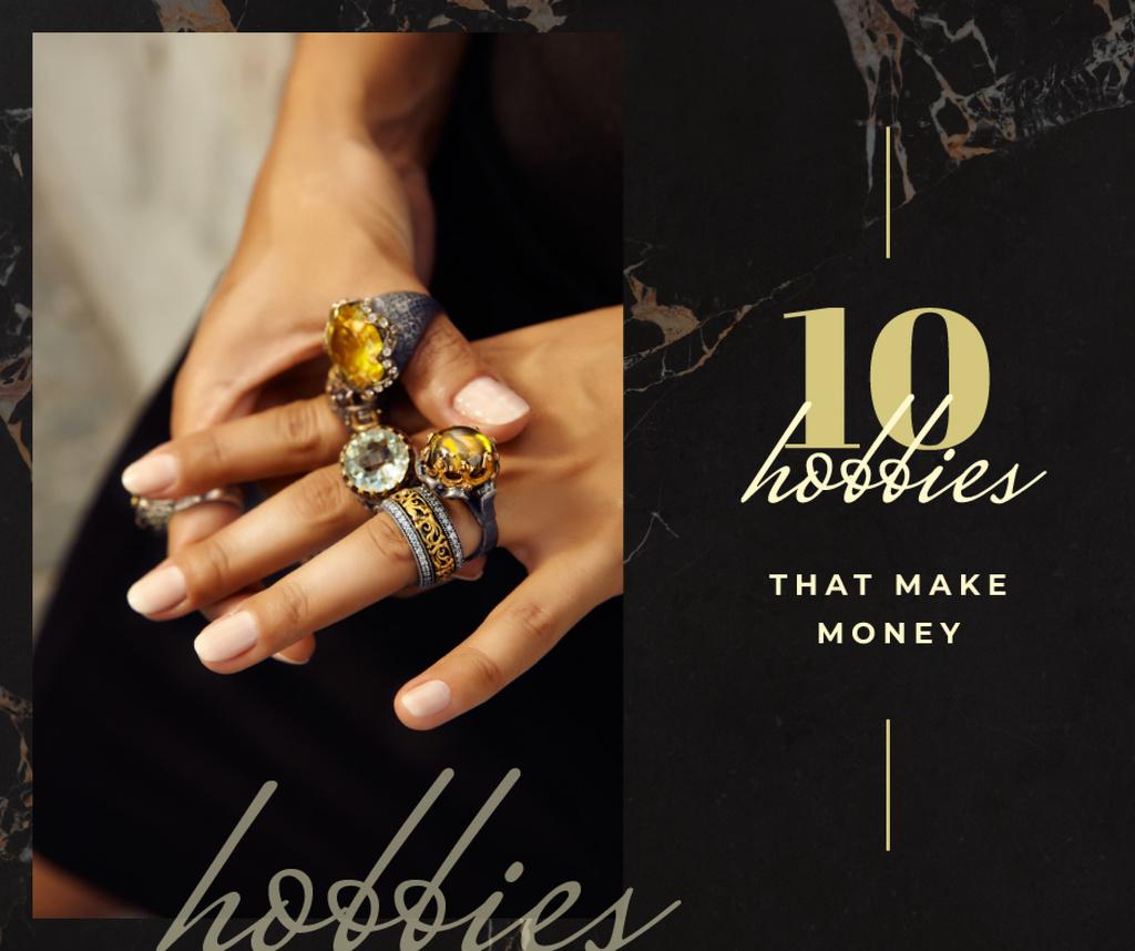 Jewelry Sale Woman wearing Rings — Modelo de projeto