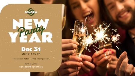 Plantilla de diseño de New Year Party invitation people toasting with Champagne FB event cover