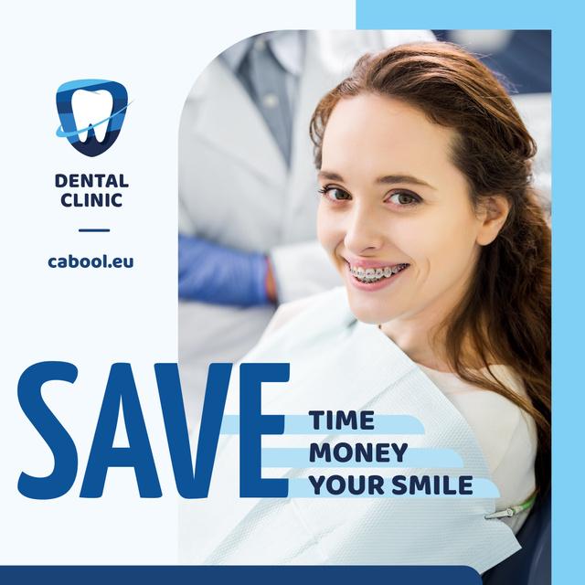 Dental Clinic Promotion Woman in Braces Smiling Instagram AD Modelo de Design
