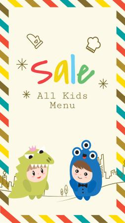 Kids menu offer with Children in costumes Instagram Story – шаблон для дизайну