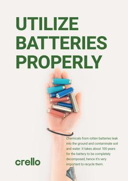 Utilization Guide Hand Holding Batteries | Poster Template