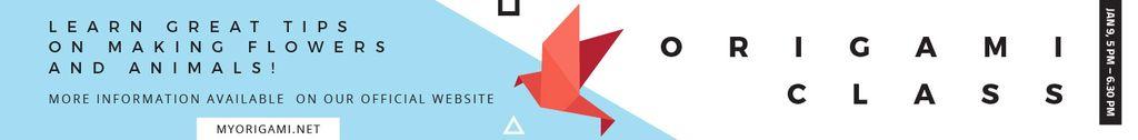 Plantilla de diseño de Origami Classes Invitation Bird Paper Figure Leaderboard