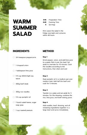 Warm Summer Salad Recipe Card Tasarım Şablonu