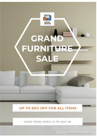 Plantilla de diseño de Grand furniture Sale with Cozy White Room Poster