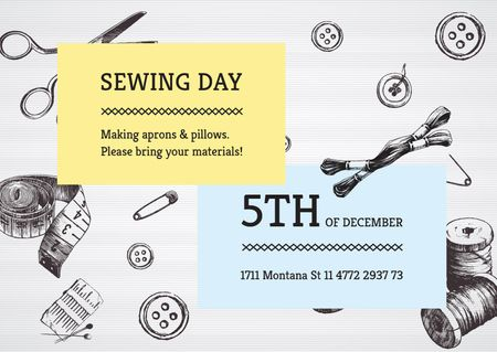Designvorlage Sewing day event  für Card