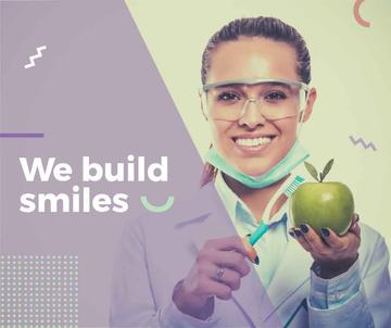 Dental Clinic Promotion Doctor Holding Apple | Facebook Post Template