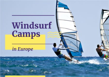 Ontwerpsjabloon van Card van Windsurf camps with Surfer