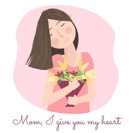 Dreamy girl holding bouquet on Mother's Day Animated Post Tasarım Şablonu