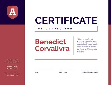 University Educational Program Completion in red and blue Certificate – шаблон для дизайну