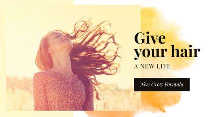 Plantilla de diseño de Hair Care Offer with Young Girl in field Facebook AD