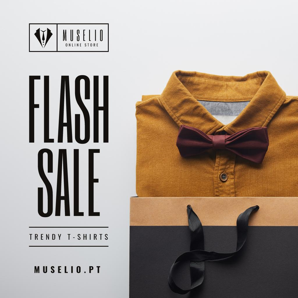 Male Fashion Store Sale Shirt with Tie — Modelo de projeto
