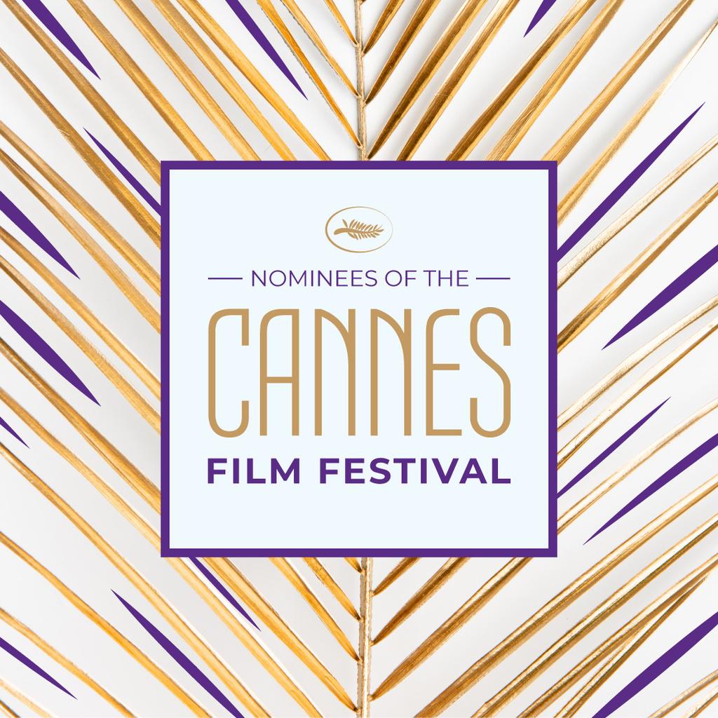 Modèle de visuel Cannes Film Festival on Golden Leaf - Instagram
