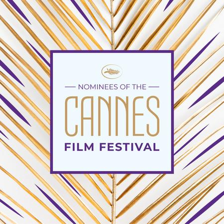 Ontwerpsjabloon van Instagram van Cannes Film Festival on Golden Leaf
