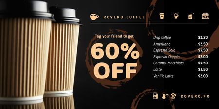 Coffee Shop Promotion with Cups Coffee To-go Twitter Modelo de Design
