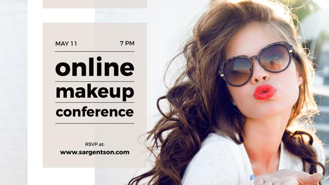 Ontwerpsjabloon van FB event cover van Online Makeup Conference Annoucement with Beautiful Young Woman