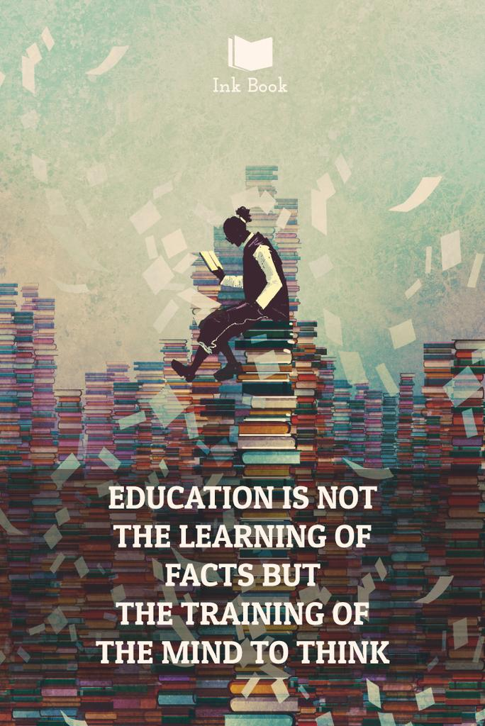 Education quote poster with man in library — Modelo de projeto